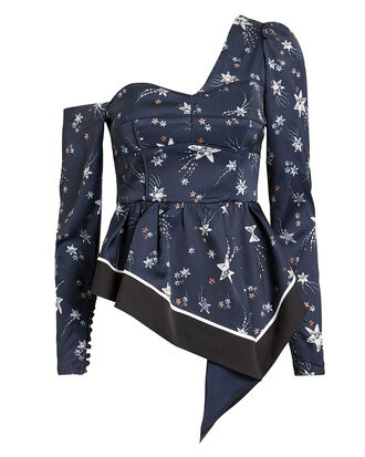 Asymmetrical Star Sequin One Shoulder Blouse, NAVY, hi-res