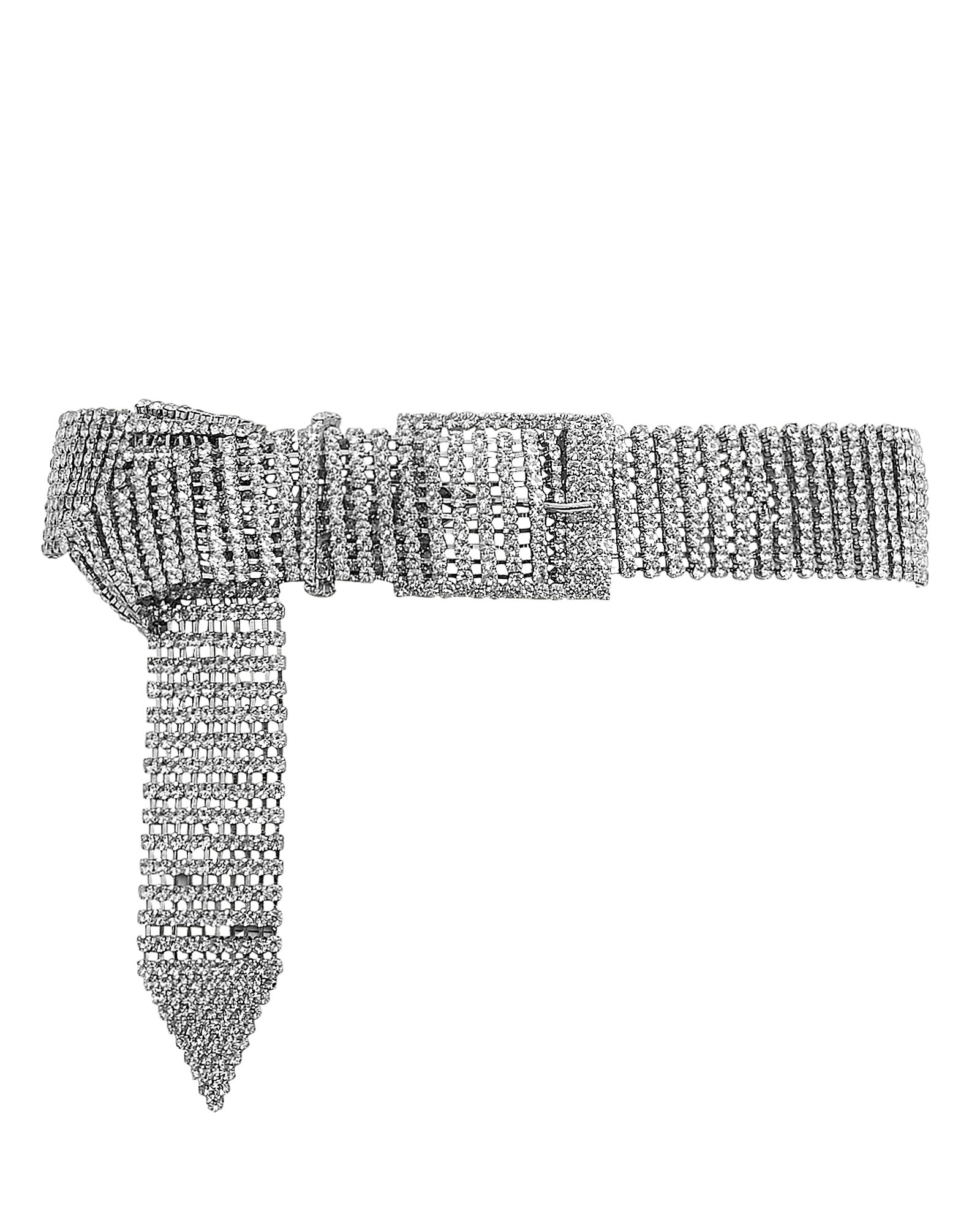 Farah Crystal Buckle Belt, CLEAR, hi-res
