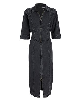 Nikita Denim Midi Dress, FADED BLACK DENIM, hi-res