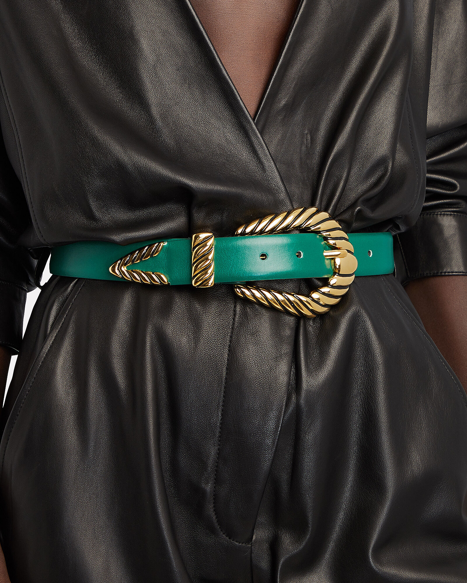Western Buckle Leather Belt, GREEN, hi-res