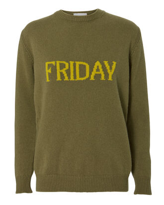 Friday Wool-Cashmere Crewneck Sweater, OLIVE, hi-res
