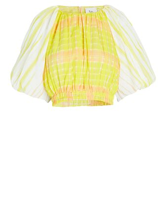 Wilderness Cropped Puff Sleeve Top, YELLOW, hi-res