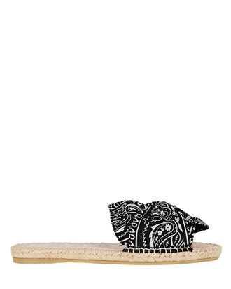Bandana Bow Espadrille Sandals, BLACK, hi-res