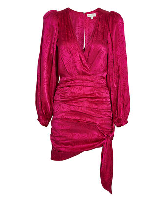 Giorgia Ruched Jacquard Mini Dress, MAGENTA, hi-res