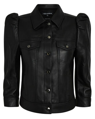 Ada Cropped Leather Jacket, BLACK, hi-res