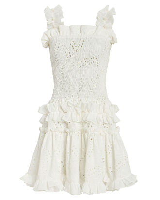 Alfresco Smocked Eyelet Dress, WHITE, hi-res