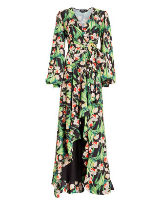 Floral Wrap Maxi Dress, BLACK/FLORAL, hi-res