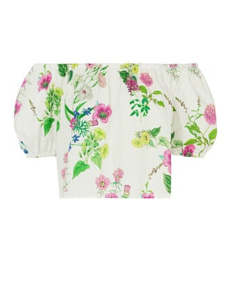 Floral Off Shoulder Crop Top, PRINT, hi-res