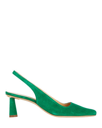Diana Suede Slingback Pumps, GREEN, hi-res