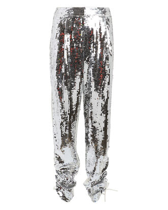 Avril Sequin-Embellished Pants, SILVER/IVORY, hi-res