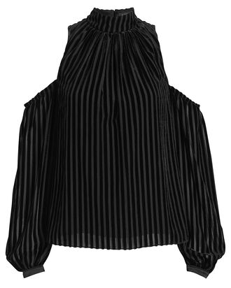 Renata Cold-Shoulder Striped Velvet Blouse, BLACK, hi-res