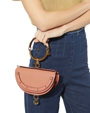 Small Nile Pink Leather Minaudiere, PINK, hi-res