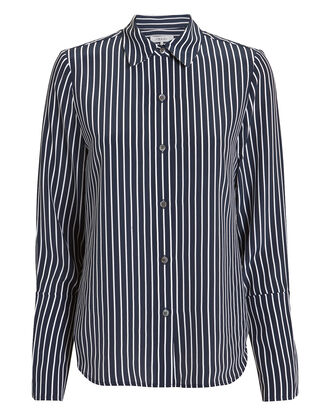 Navy Striped Pajama Blouse, NAVY, hi-res