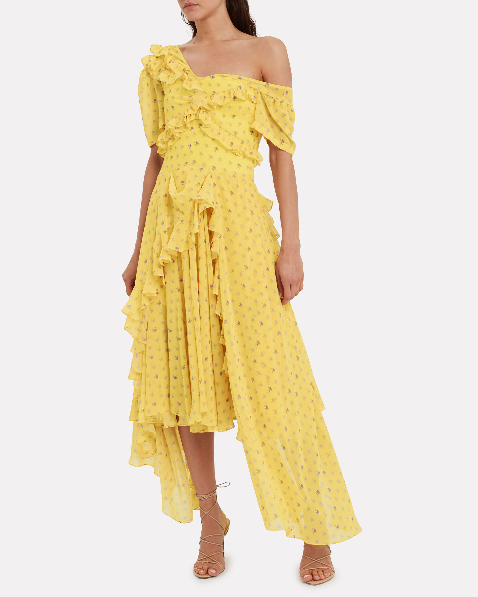 Kennedy Floral Georgette Asymmetric Dress, YELLOW, hi-res