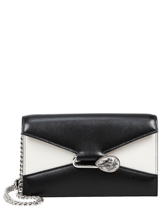 Colorblock Leather Envelope Clutch, BLK/WHT, hi-res