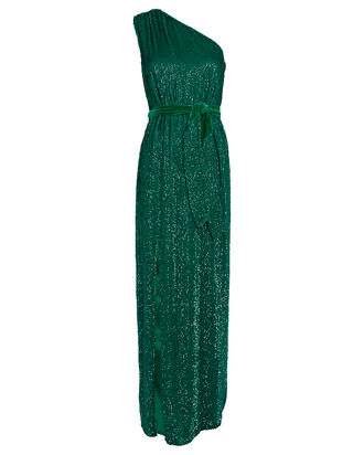 Vivien One-Shoulder Sequin Gown, GREEN, hi-res