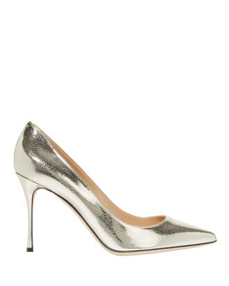 Godiva Cracked Leather Pumps, SILVER, hi-res