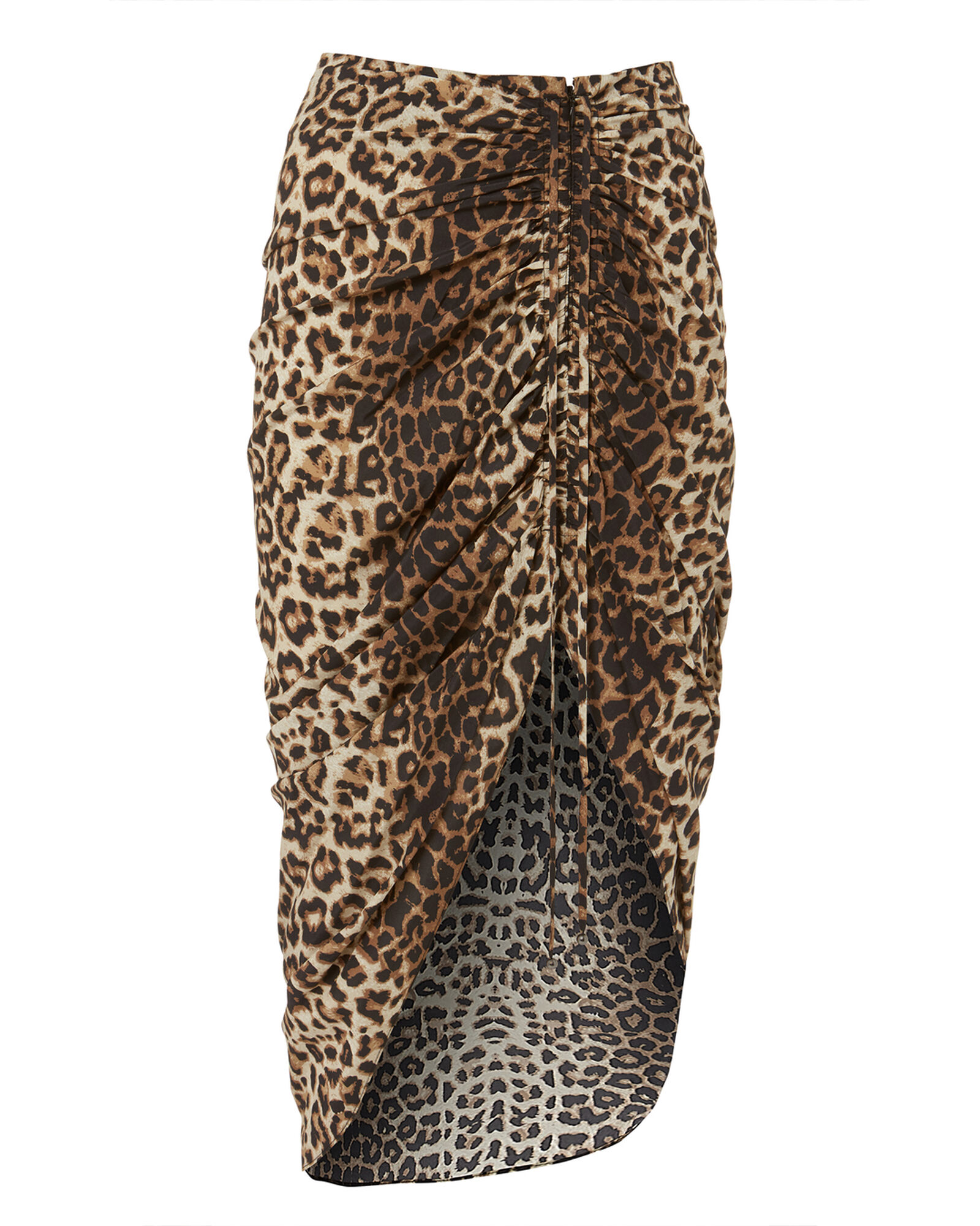 Ari Asymmetrical Leopard Skirt, BROWN, hi-res