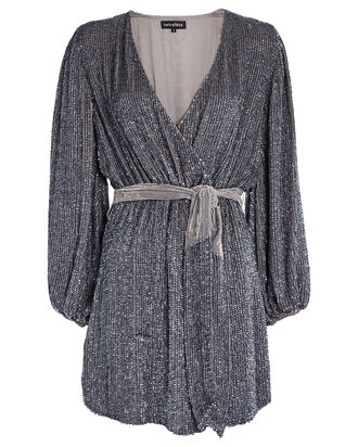 Julie Sequined Wrap Dress, SILVER, hi-res