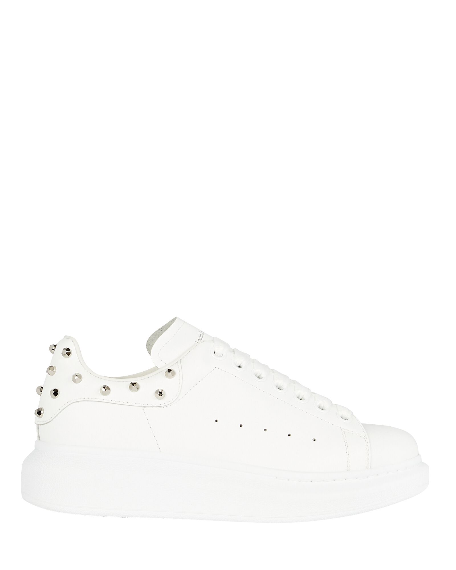 Oversized Studded Leather Sneakers, WHITE, hi-res