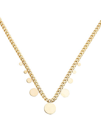Curb Chain Hanging Disc Necklace, GOLD, hi-res