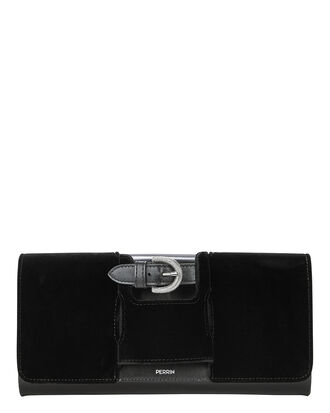 La Boucle Black Velvet Clutch, BLACK, hi-res