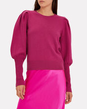 Cashmere Puff Sleeve Sweater, PINK-DRK, hi-res