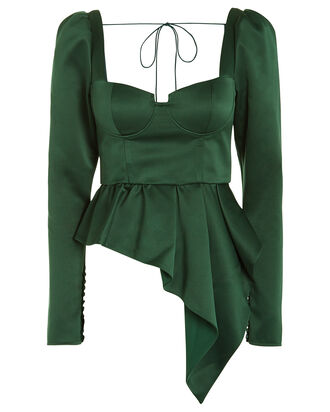 Asymmetric Duchess Satin Top, GREEN, hi-res