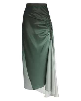 Gathered Silk Charmeuse Skirt, GREEN, hi-res