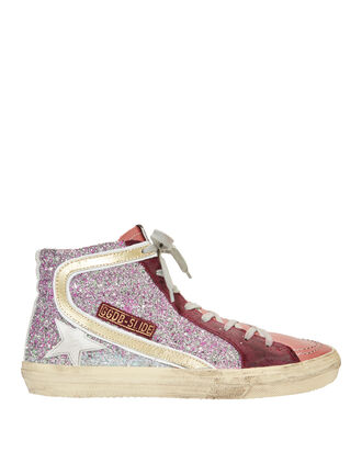 Slide Hi Top Glitter Pink Sneakers, PINK, hi-res
