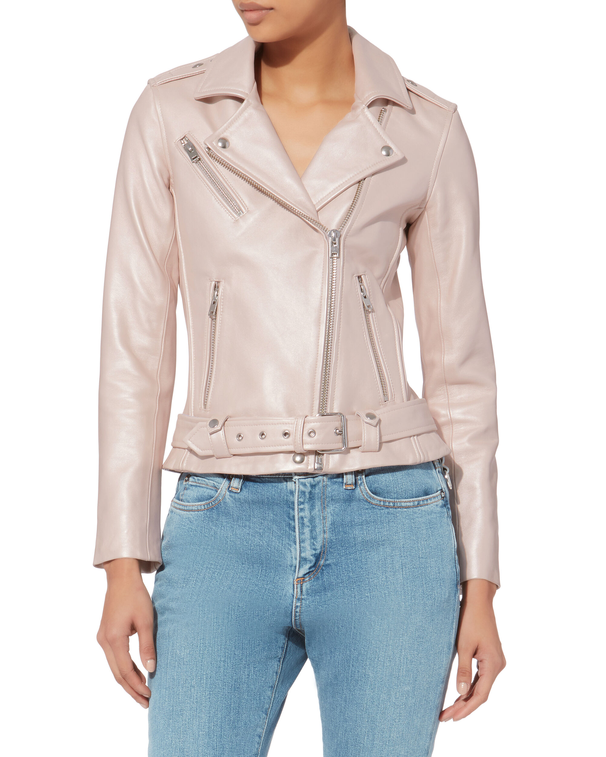 Mila Pink Leather Jacket, PINK, hi-res