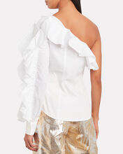 Ruffled One-Shoulder Button Down, WHITE, hi-res