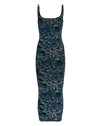 Floral Knit Midi Dress, BLUE/BLACK, hi-res