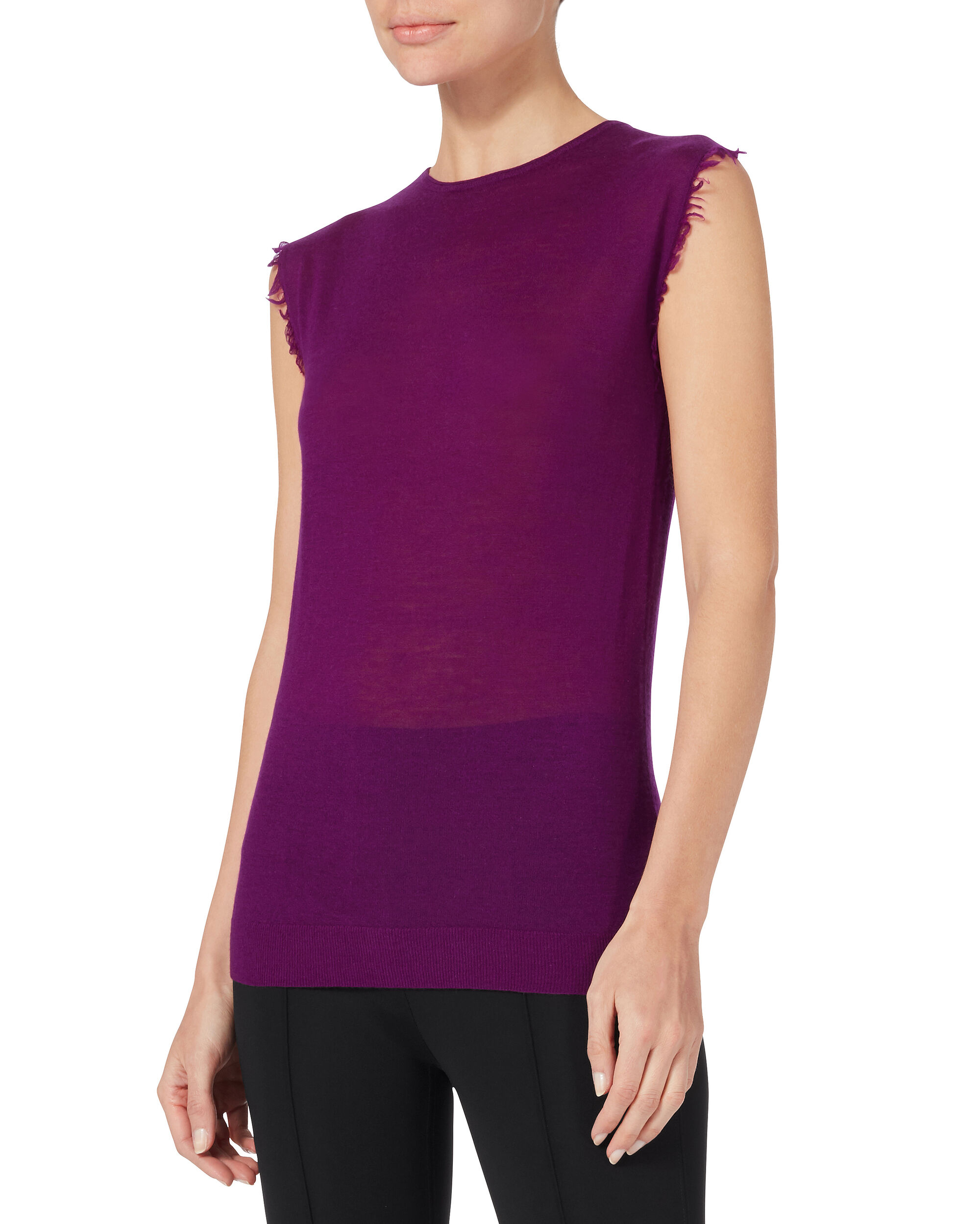Frayed Edge Sleeveless Cashmere Top, PURPLE-DRK, hi-res