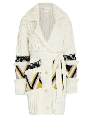 Cable Knit Wool-Blend Cardigan, IVORY, hi-res