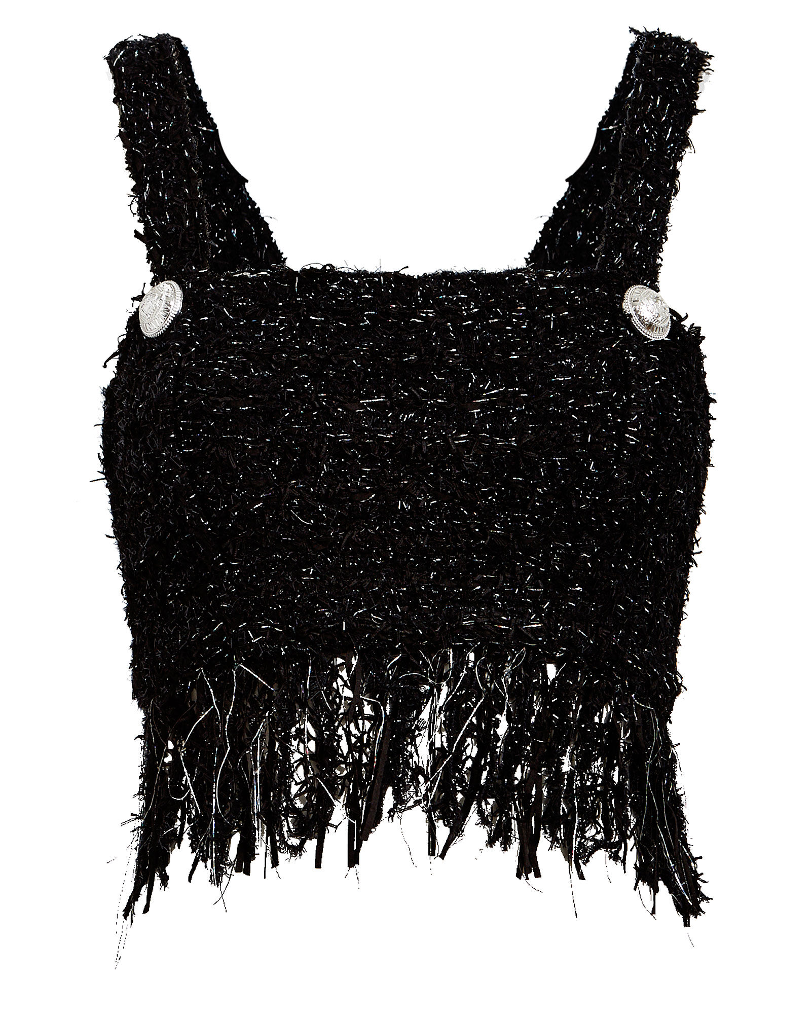 Fringed Tweed Flecked Cropped Top, BLACK, hi-res