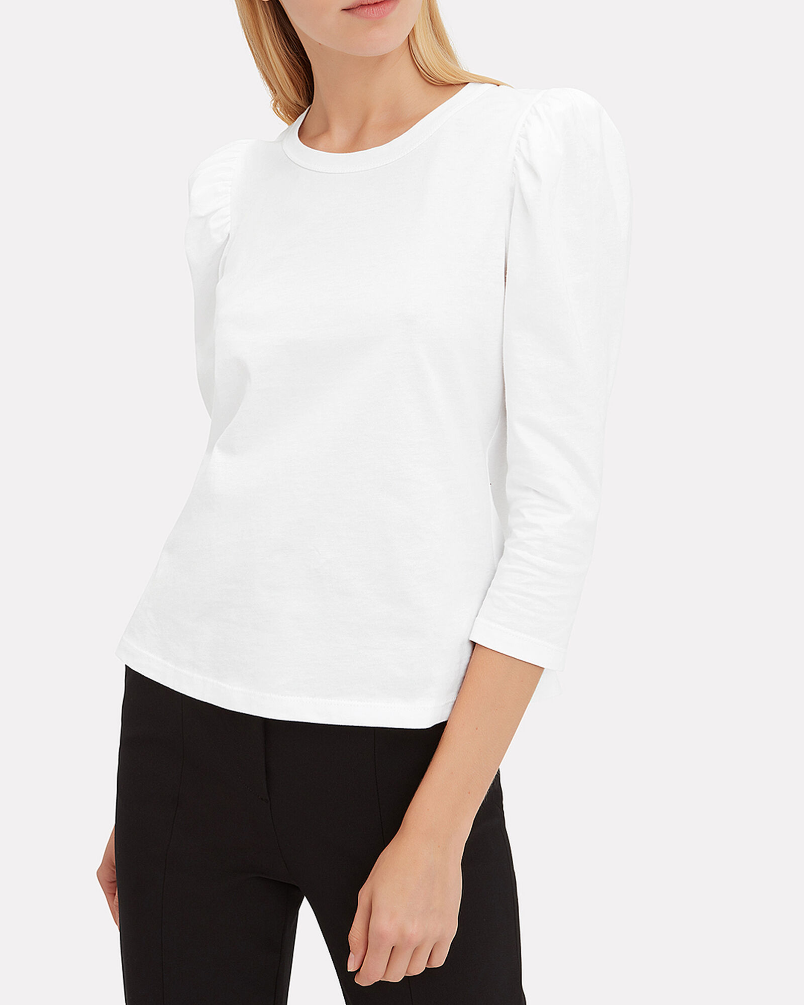 Karlie Puff Sleeve Cotton T-Shirt, WHITE, hi-res
