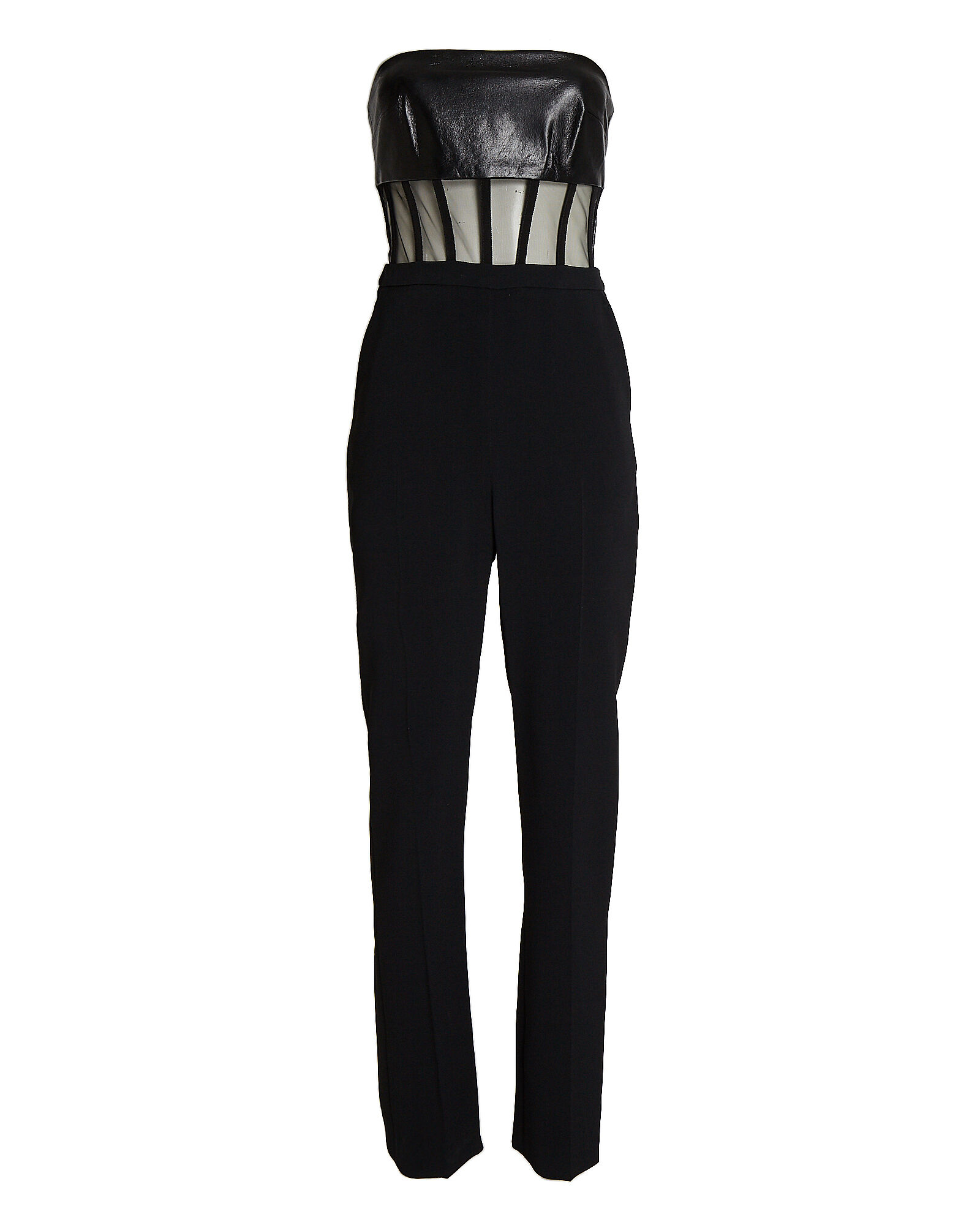 Leather-Trimmed Strapless Jumpsuit, BLACK, hi-res