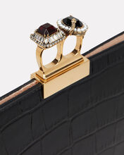 Croc Embossed Two Ring Clutch, BLACK, hi-res
