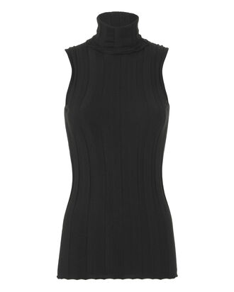 Ribbed Sleeveless Turtleneck, BLACK, hi-res