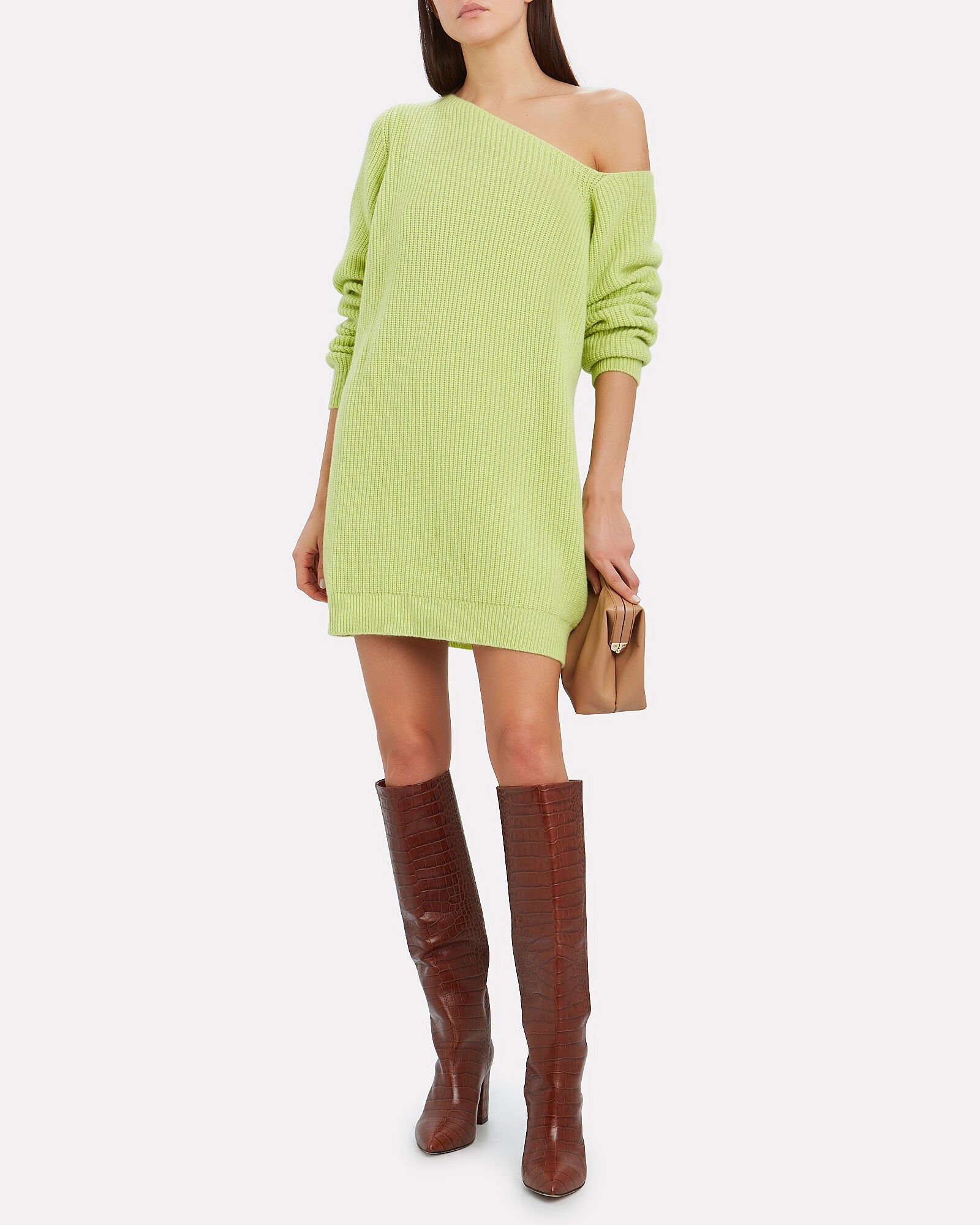 Isa Cashmere One-Shoulder Dress, GREEN-LT, hi-res