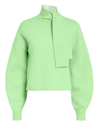 Tie Neck Green Sweater, LIGHT GREEN, hi-res