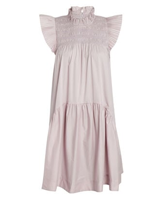 Marlene Smocked Cotton Mini Dress, PALE PURPLE, hi-res