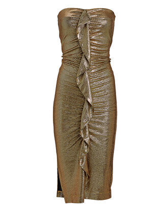 Dru Strapless Metallic Dress, GOLD, hi-res
