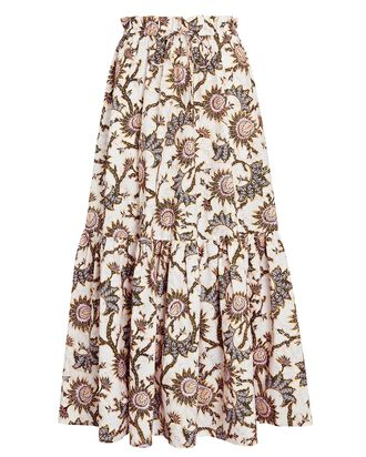 Francis Floral Poplin Maxi Skirt, WHITE, hi-res