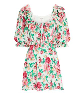 Imogen Floral Puff Sleeve Mini Dress, WHITE/PINK/GREEN, hi-res