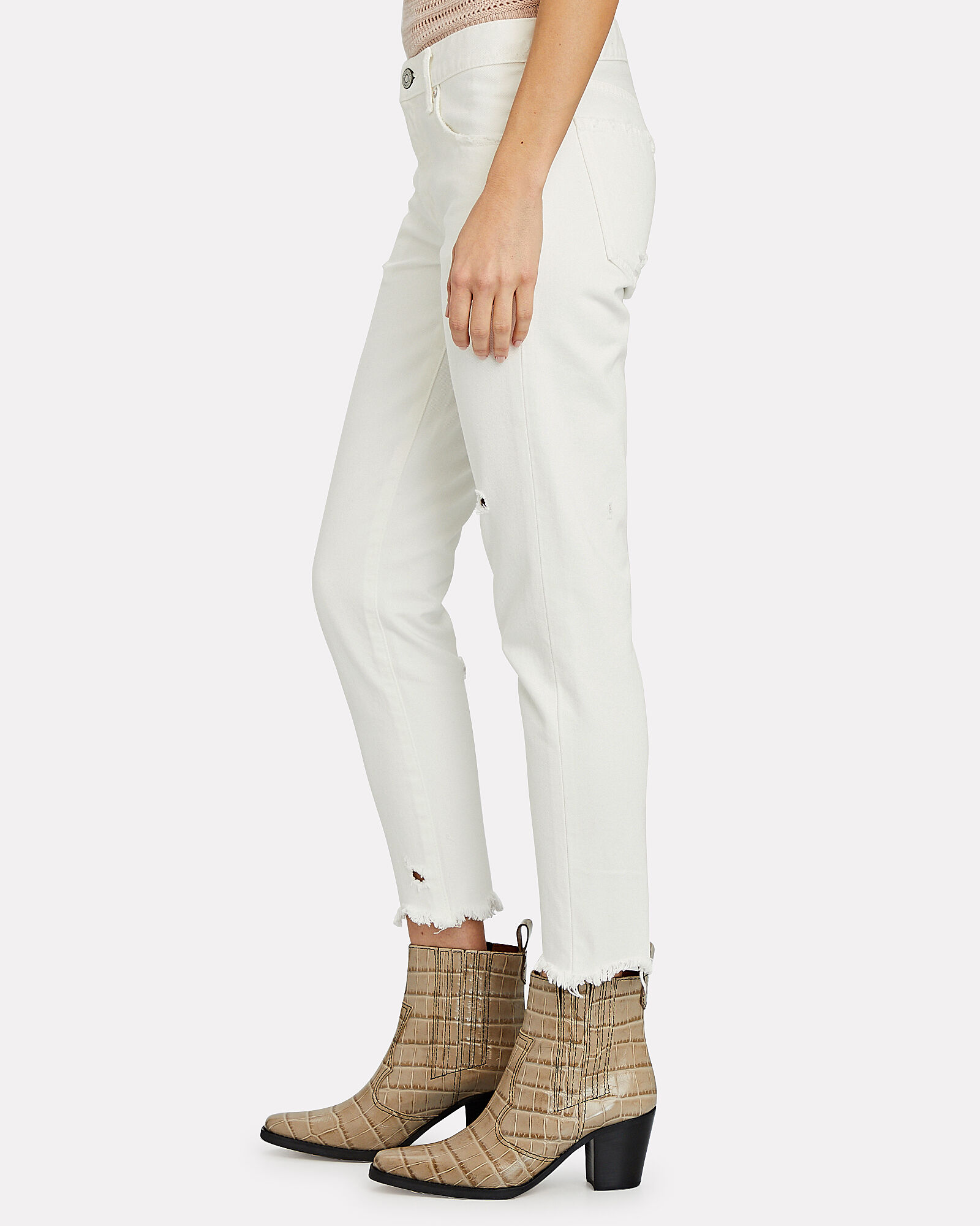 Kelley Mid-Rise Tapered Jeans, WHITE, hi-res