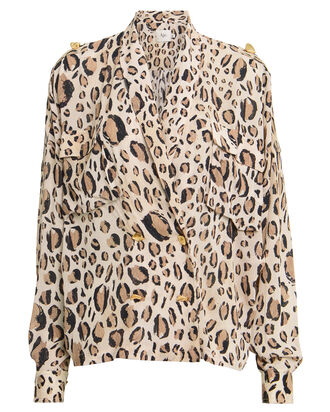 Evelyn Leopard Crepe Blouse, TAN/LEOPARD, hi-res