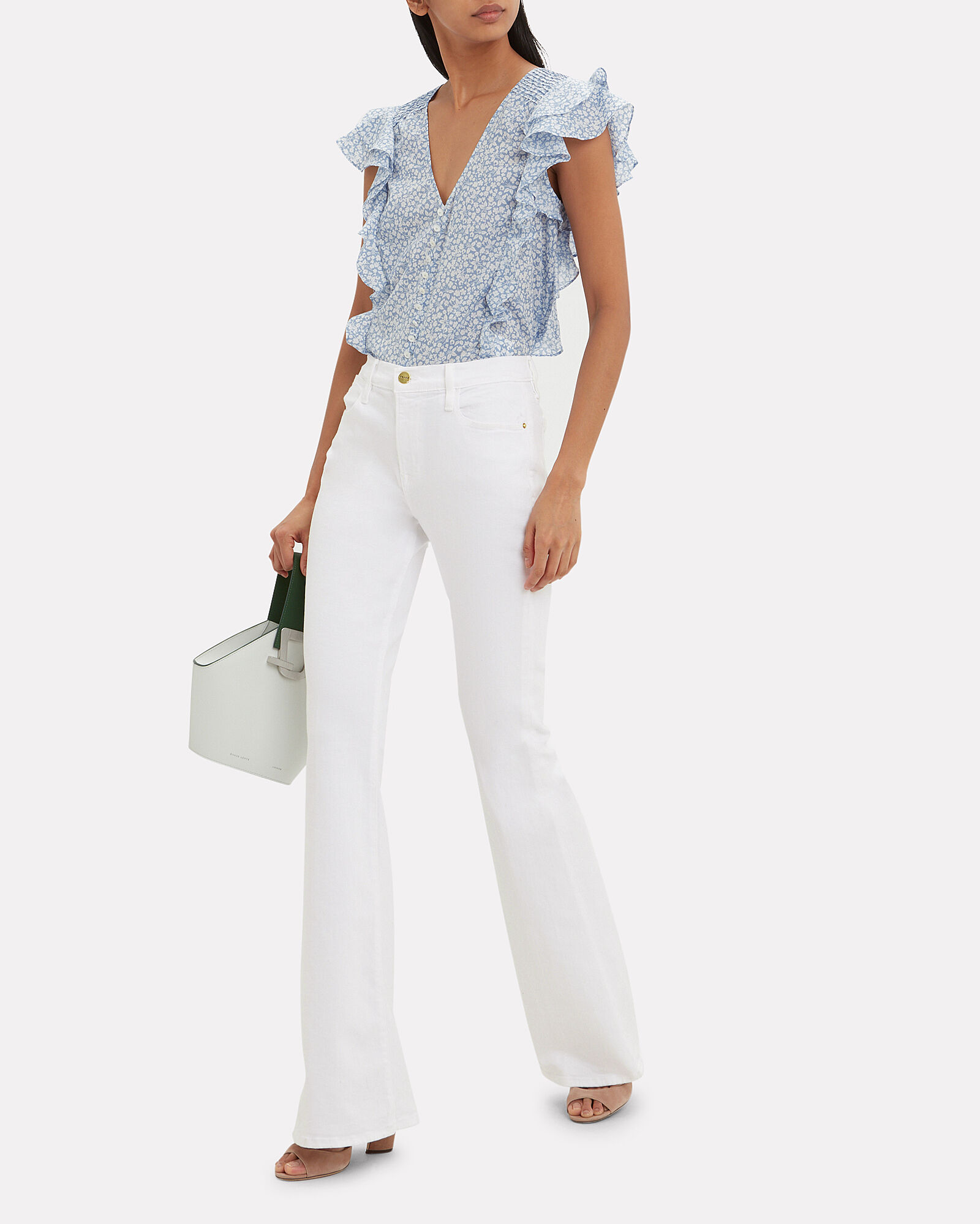 Le High Flare Jeans, WHITE, hi-res