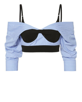 Off Shoulder Bra Poplin Shirt, BLUE-MED, hi-res